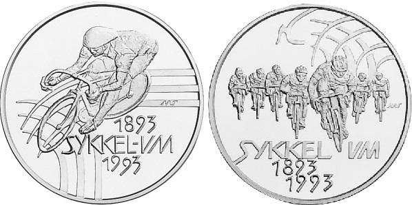 "Монета Норвегии ""100 лет велоспорту"" 100 крон 1993 года"
