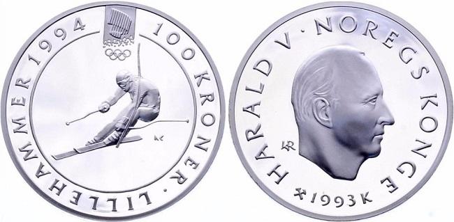 """Монета Норвегии """"Зимние Олимпийские игры 1994 года в Лиллехаммере"""" 100 крон 1993 года"""