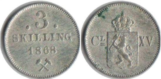 Монета Норвегии 3 скиллинга 1868 года