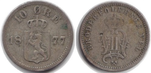 Монета Норвегии 10 эре 1877 года