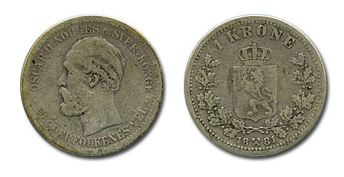 Монета Норвегии 1 крона 1881 года