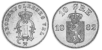 Монета Норвегии 10 эре 1882 года