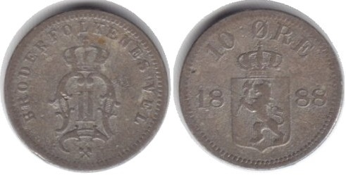 Монета Норвегии 10 эре 1888 года