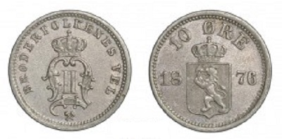 Монета Норвегии 10 эре 1876 года
