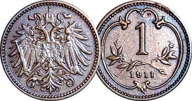 Монета Австрии 1 геллер 1911 года