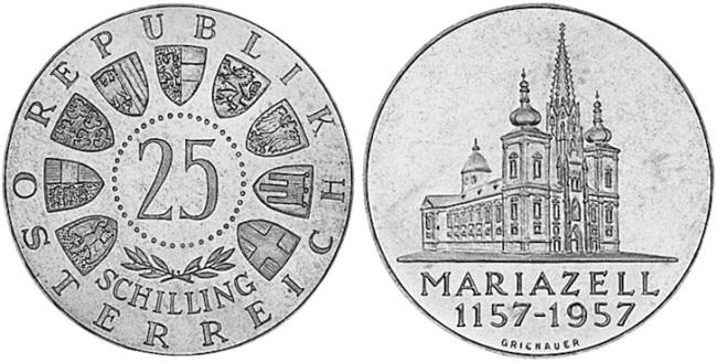 """Монета Австрии """"800 лет базилике Рождества Девы Марии"""" 25 шиллингов 1957 года"""