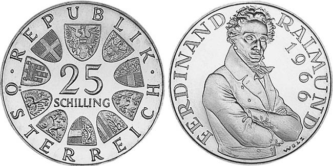"Монета Австрии ""130 лет со дня смерти Фердинанда Раймунда"" 25 шиллингов 1966 года"