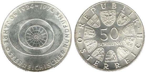 """Монета Австрии """"50 лет радиовещанию"""" 50 шиллингов 1974 года"""