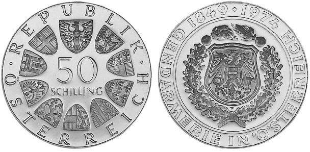 """Монета Австрии """"125 лет австрийской полиции"""" 50 шиллингов 1974 года"""