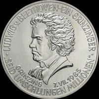 Монета Австрии посвященная Людвигу ван Бетховену 200 шиллингов 1985 года