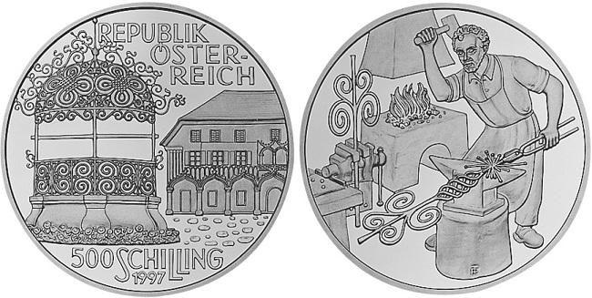 """Монета """"Архитектурные сооружения Австрии"""" 500 шиллингов 1997 года"""