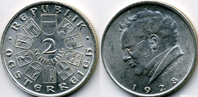 "Монета Австрии ""100 лет со дня смерти Франца Шуберта"" 2 шиллинга 1928 года"