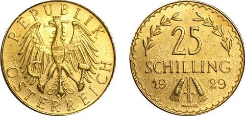 Монета Австрии 25 шиллингов 1929 года