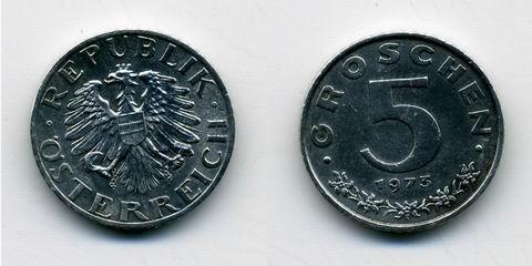Монета Австрии 5 грошей 1973 года