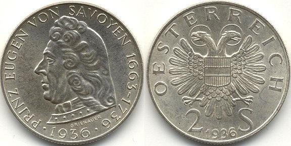 """Монета Австрии """"200 лет Евгению Савойскому"""" 2 шиллинга 1936 года"""