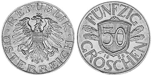 Монета Австрии 50 грошей 1946 года