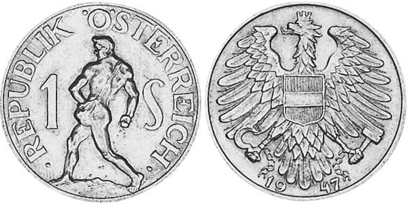 Монета Австрии 1 шиллинг 1947 года