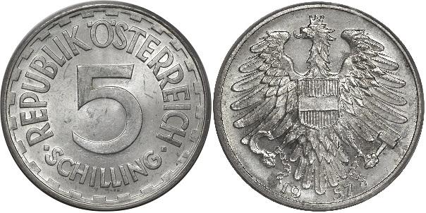 Монета Австрии 5 шиллингов 1957 года