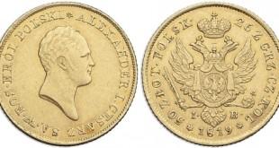 Монета 50 злотых 1819 года Александра I для Польши - аверс и реверс