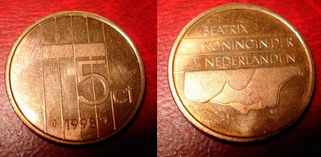 Монета нидерландов 5 центов 1998 года