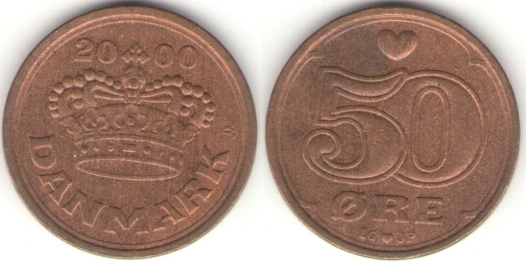 Монета 50 эре 2000 года выпуска