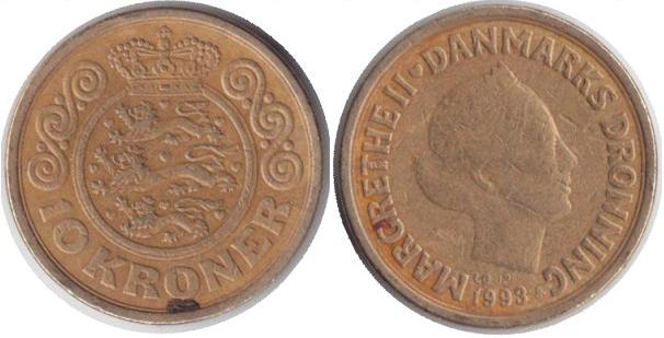 Монета Дании 10 крон 1993 года.
