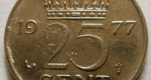монета 25 центов 1977 Нидерланды