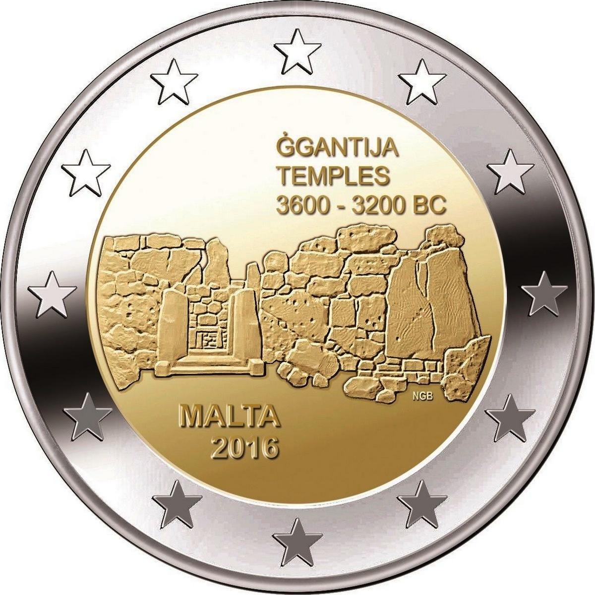 1-я монета серии из 7 монет с изображением мальтийских доисторических комплексов: Джгантия