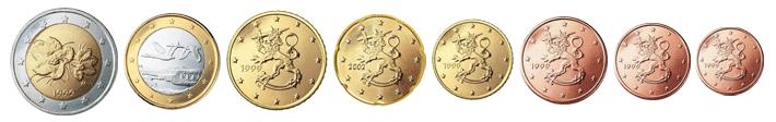 Монеты евро Финляндии образца 1999 года
