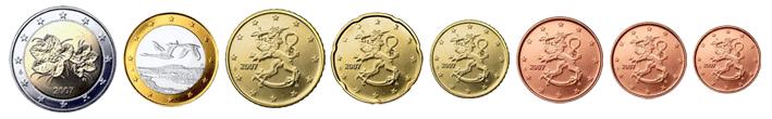 Монеты евро Финляндии образца 2007 года