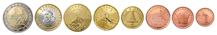 Монеты евро Словении