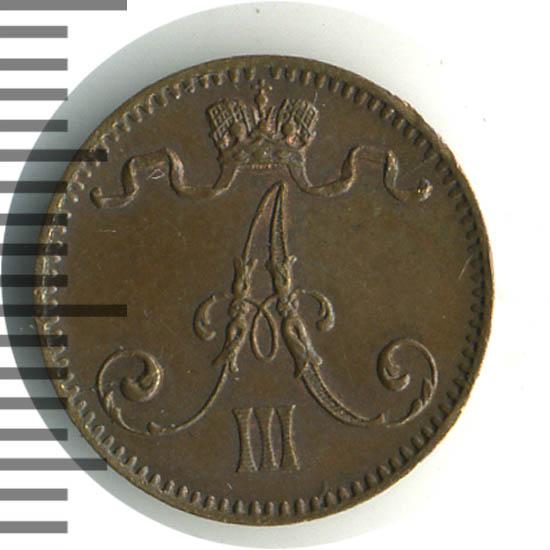 Монета 1 пенни 1894 года для Финляндии (Александра III) - аверс
