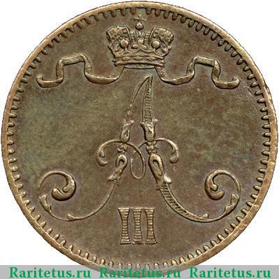 Монета 1 пенни 1882 года для Финляндии (Александра III) - аверс