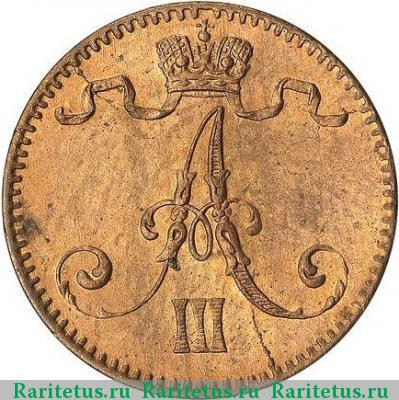 Монета 1 пенни 1888 года для Финляндии (Александра III) - аверс