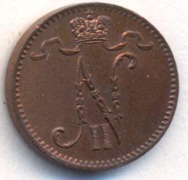 Монета 1 пенни 1902 года для Финляндии (Николая II) - аверс