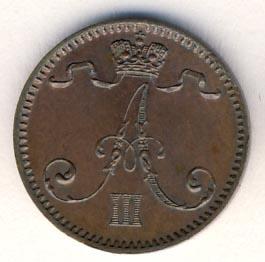 Монета 1 пенни 1891 года для Финляндии (Александра III) - аверс