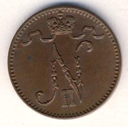 Монета 1 пенни 1903 года для Финляндии (Николая II) - аверс