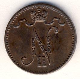 Монета 1 пенни 1904 года для Финляндии (Николая II) - аверс