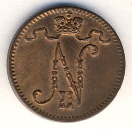 Монета 1 пенни 1901 года для Финляндии (Николая II) - аверс