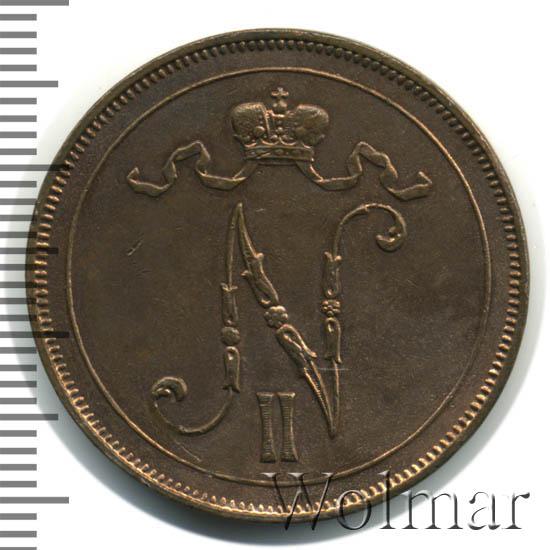 Монета 10 пенни 1900 года для Финляндии (Николая II) - аверс