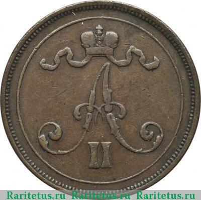 Монета 10 пенни 1875 года для Финляндии (Александра II) - аверс