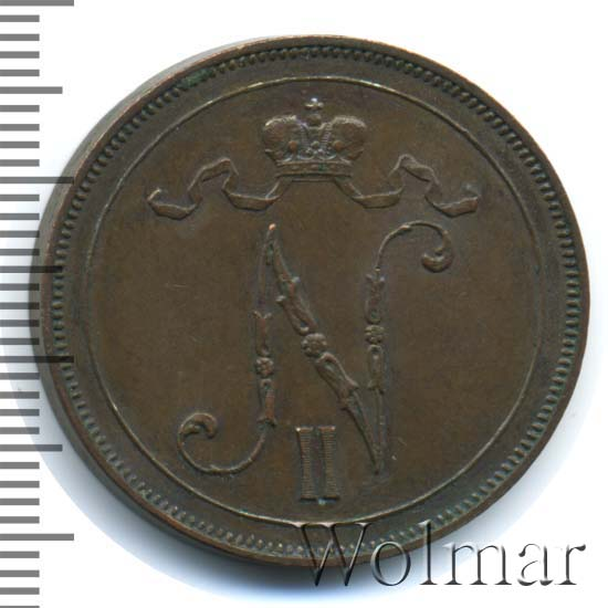Монета 10 пенни 1907 года для Финляндии (Николая II) - аверс