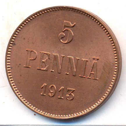 Монета 5 пенни 1913 года для Финляндии (Николая II) - реверс