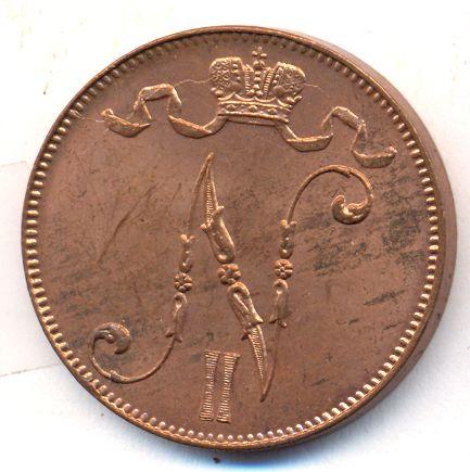 Монета 5 пенни 1913 года для Финляндии (Николая II) - аверс