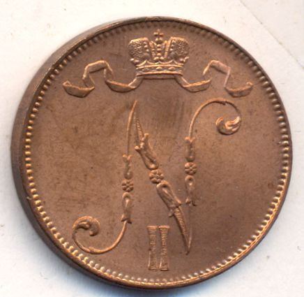 Монета 5 пенни 1914 года для Финляндии (Николая II) - аверс
