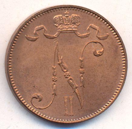 Монета 5 пенни 1915 года для Финляндии (Николая II) - аверс