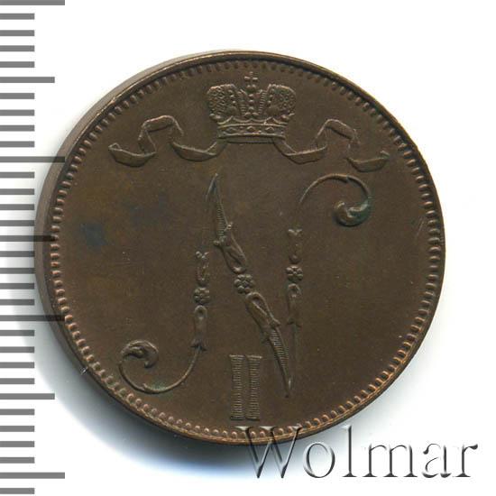 Монета 5 пенни 1907 года для Финляндии (Николая II) - аверс