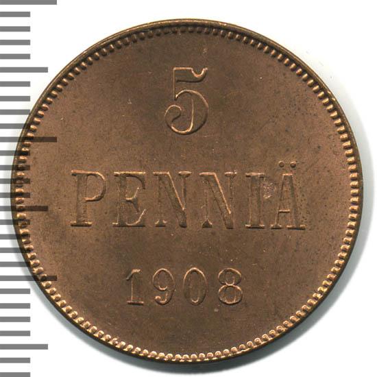 Монета 5 пенни 1908 года для Финляндии (Николая II) - реверс