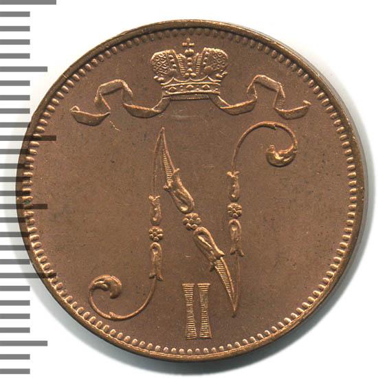 Монета 5 пенни 1911 года для Финляндии (Николая II) - аверс
