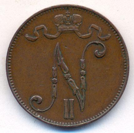 Монета 5 пенни 1910 года для Финляндии (Николая II) - аверс